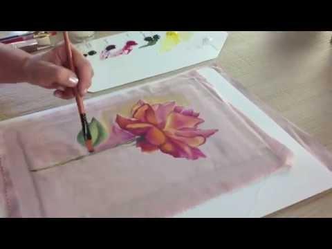 Como pintar sobre tela  Flores  Ana Maria Paravic  YouTube