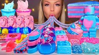 ASMR *BLUE & PINK FOOD* COTTON CANDY MARSHMALLOW FLUFF, CHOCOLATE LEGO MAN, JELLY CAKE MUKBANG 먹방