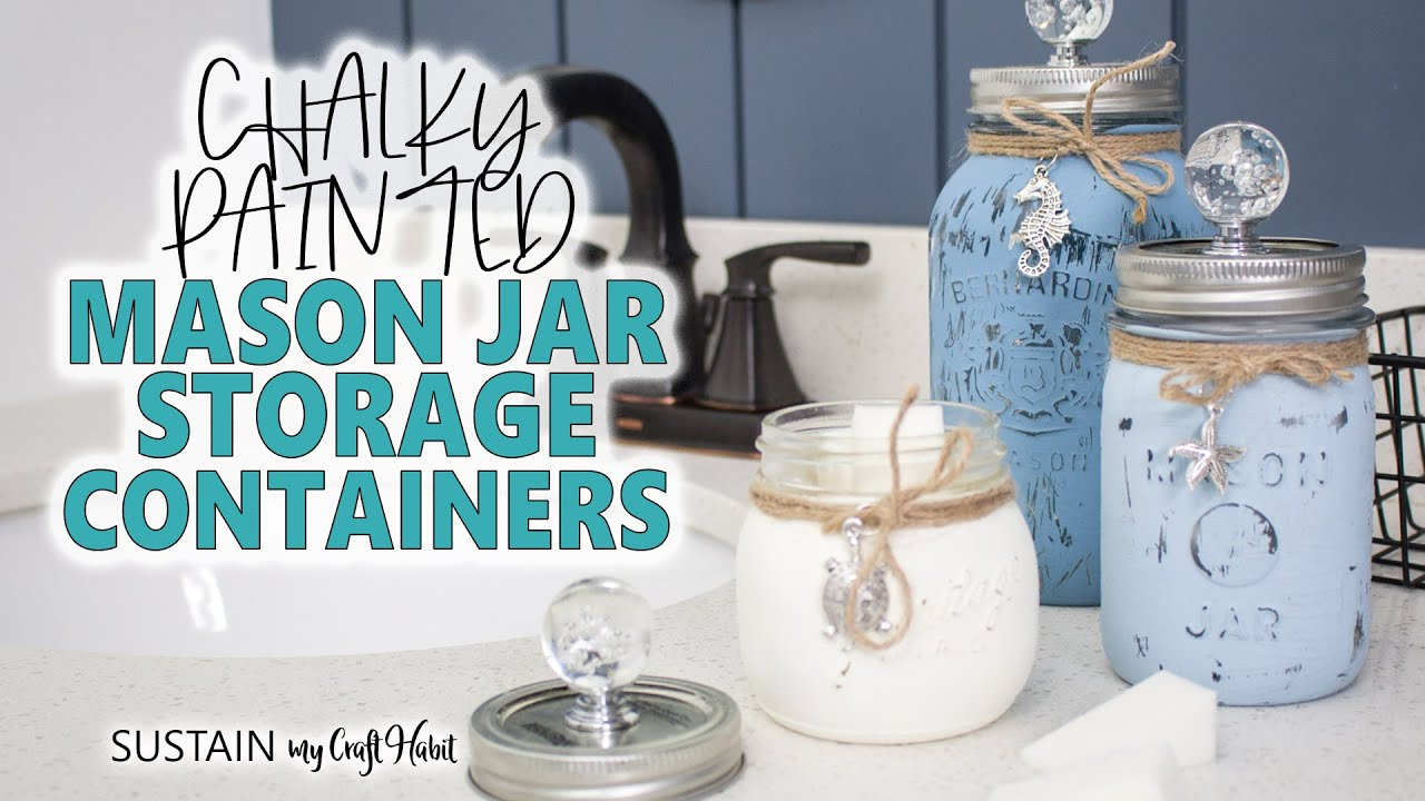 Pretty Beach Themed Painted Mason Jars Containers Decor And Gift Idea Youtube