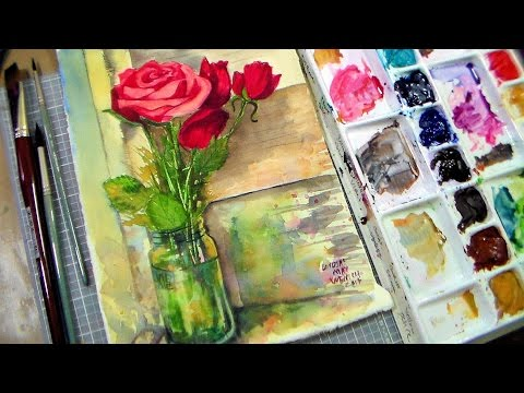 LIVE Roses in Mason Jar Tutorial in Watercolor