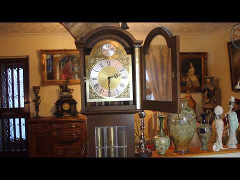 Vintage German 'Tempus Fugit', FHS Grandmother 8-Day Clock, Westminster Chimes