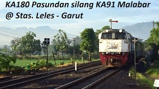 Moment Tunggu Silang KA Pasundan dg KA Malabar di Stasiun Leles & Semboyan 8A yg Unik