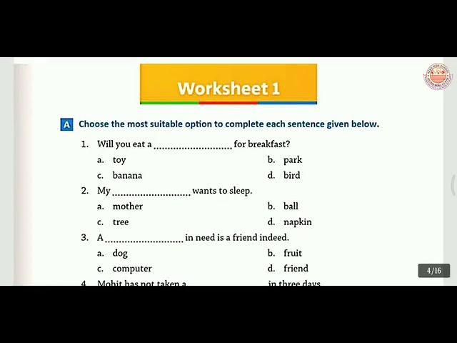 Class 3 |Worksheet 1-9, Test 1 |Everyday English Grammar - YouTube