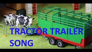 JOHN DEERE TRACTOR TRAILER  moving pigs, sheep, cows song for kids