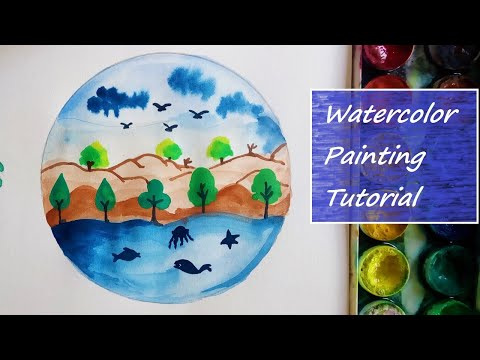 Watercolor painting tutorial for beginners – Earth day poster with beautiful landscape painting