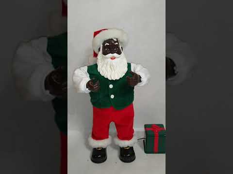 African American Animated Santa Up On The House Top