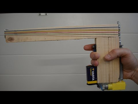 Handcraft semi-automatic rubber band pistol - Homemade
