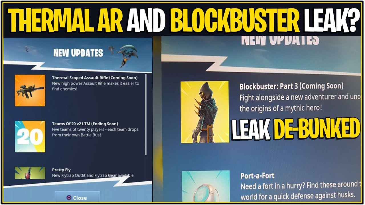 *NEW* Fortnite: THERMAL SCOPED AR AND LEAKED BLOCKBUSTER SKIN?!? | (De-Bunked)
