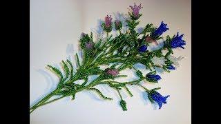 Колокольчики раскидистые из бисера. Часть 1/4. //Field flowers of a bell from beads.