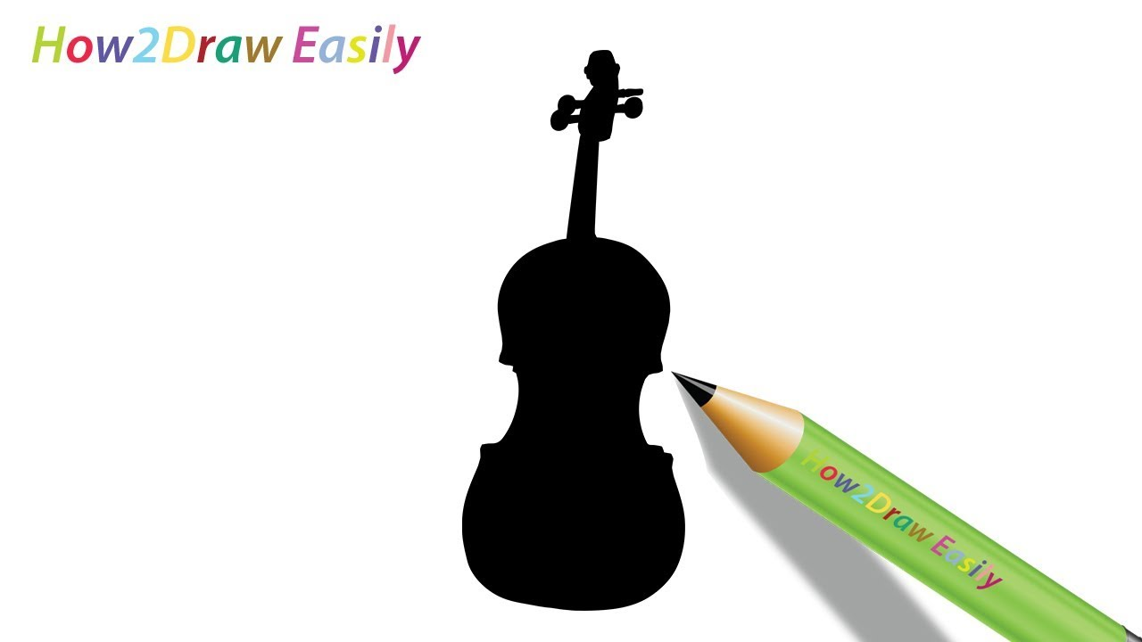 How To Draw A Violin Silhouette Easy Drawing Step By Step Youtube