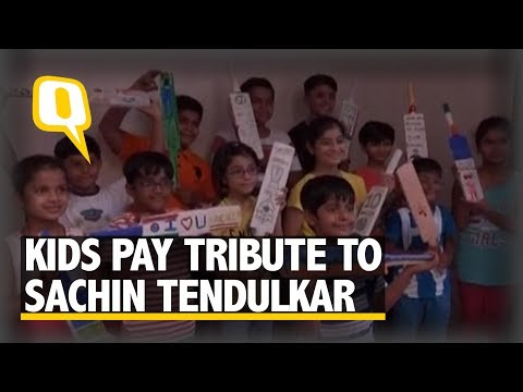 The Quint: Vadodara Kids Pay Tribute to Sachin, Paint 100 Cricket Bats