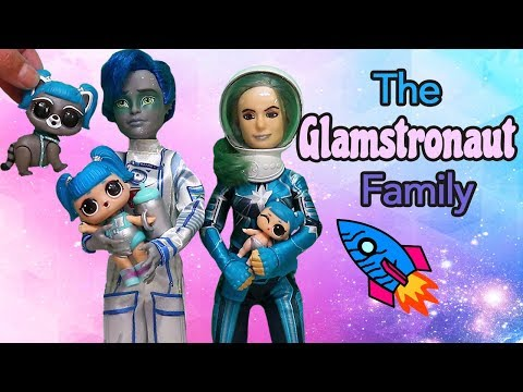 Barbie Doll LOL Families ! The Glamstronaut Family 24 Hours in Box Fort | Toys and Dolls Play