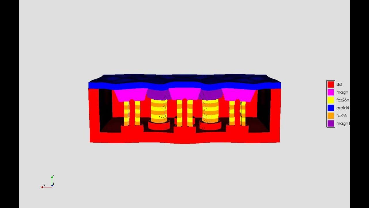 PZFlex - SONAR: 3D Hexagonal Tonpilz Array - mode shape