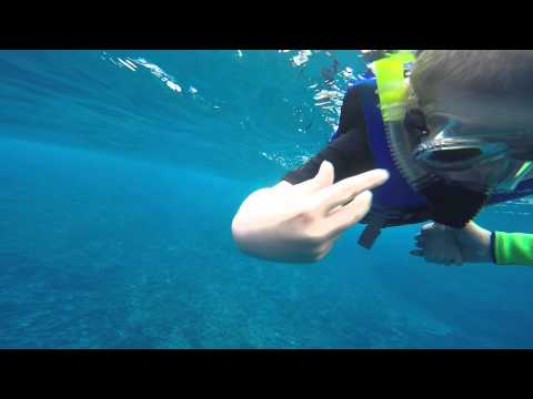 Travis and I snorkelling in seriously deep water in Tonga