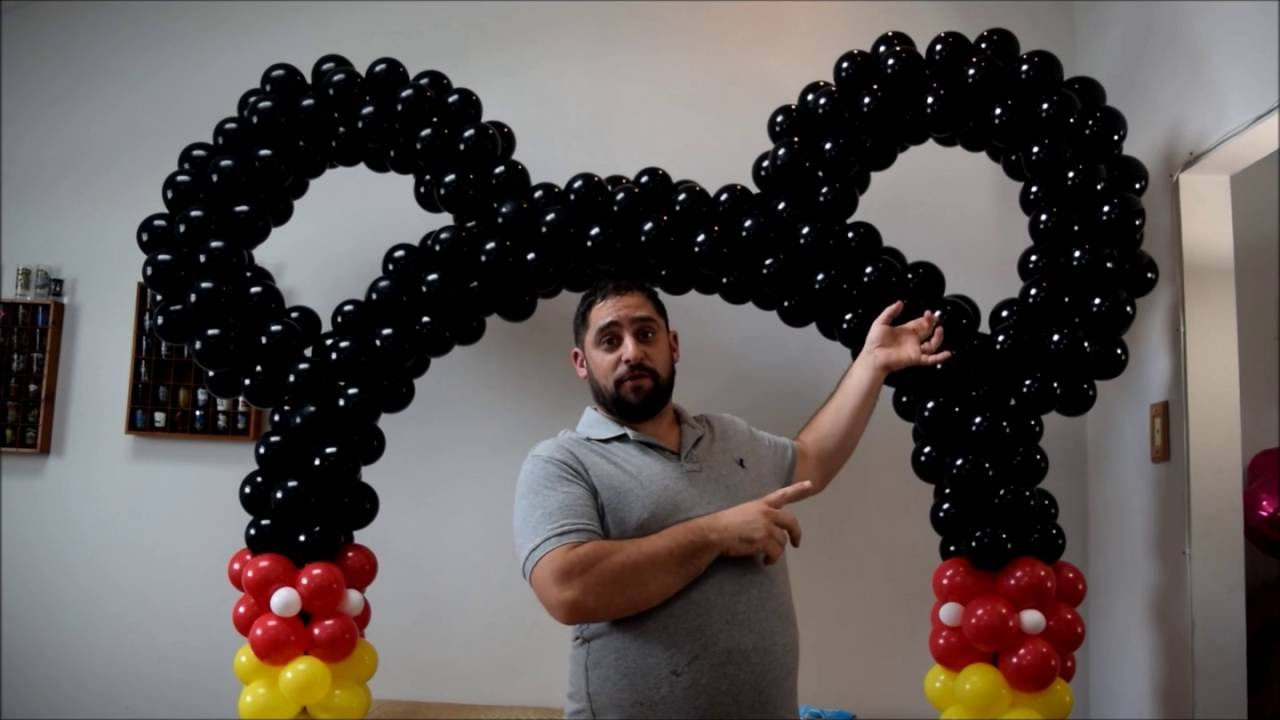 Mickey mouse balloon arch tutorial no helium required diy for Balloon arch frame kit party balloons decoration