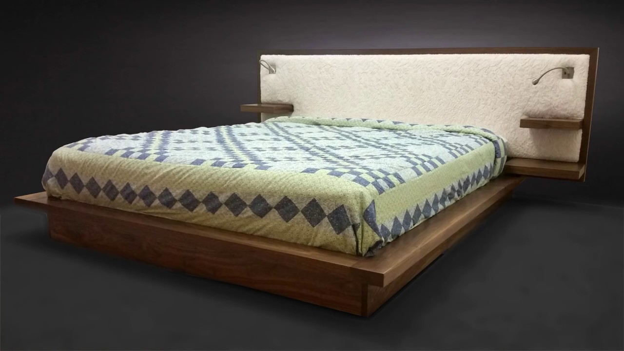 Building a Platform Bed with Floating Shelves, Reading Lights and Sheepskin Headboard - Woodworking