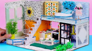 DIY Miniature Cardboard House #28 ❤️ with Bed Room, Living Room, Kitchen from Carton Cover