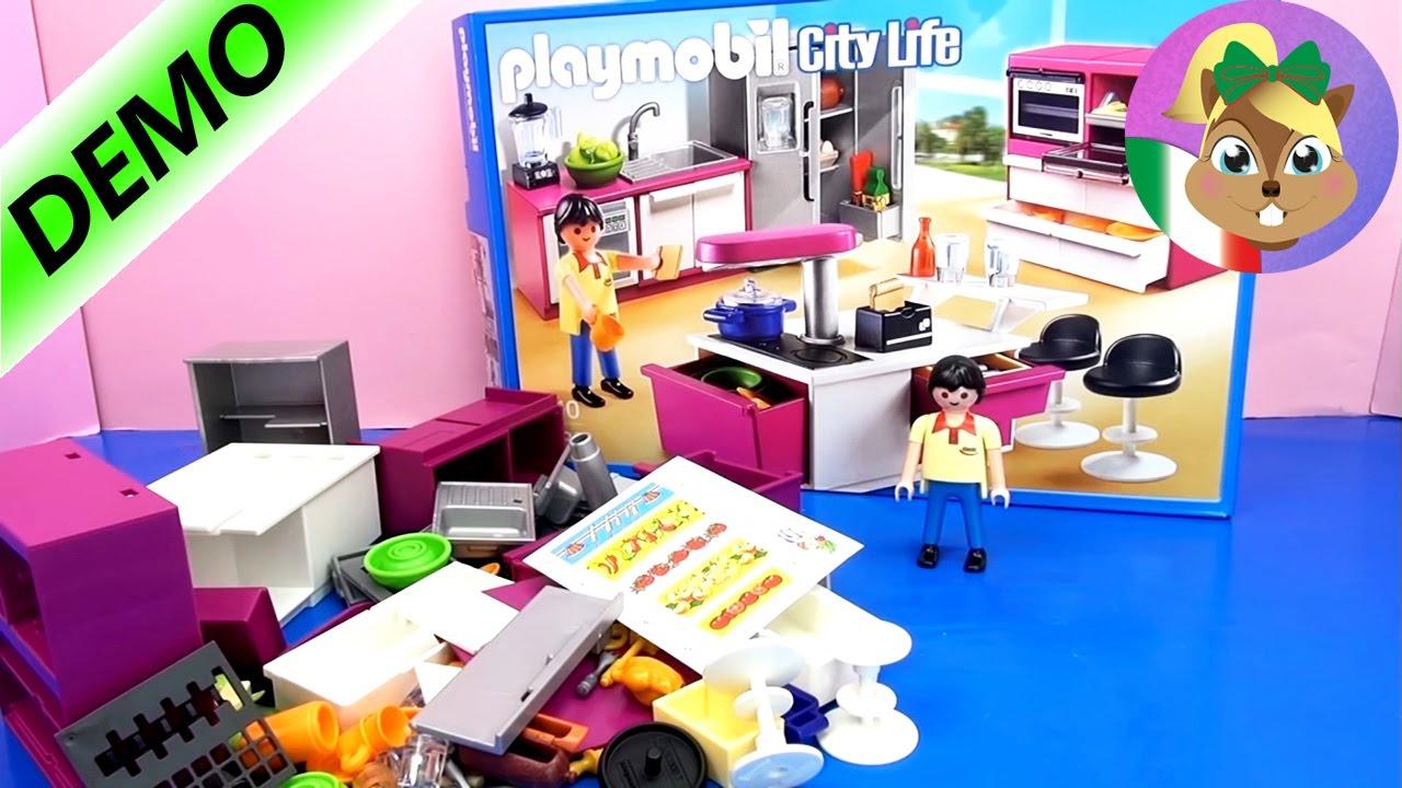 Cucina di Playmobil  Costruzione e commenti della cucina di Playmobil per bambini 5582 - YouTube