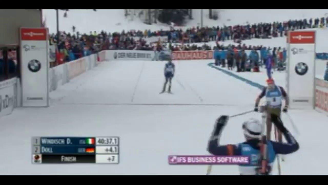 Biathlon world cup 2016 canmore. men's mass-start. finish