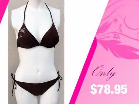 16516ed32a Custom Just Married Bikini with Palm Tree Top - Honeymoon Bikini -  AdvantageBridal.com