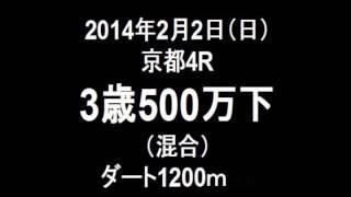 2014年2月2日(日) 京都4R 3歳500万下 ダート1200m 1番人気ドリームカ...