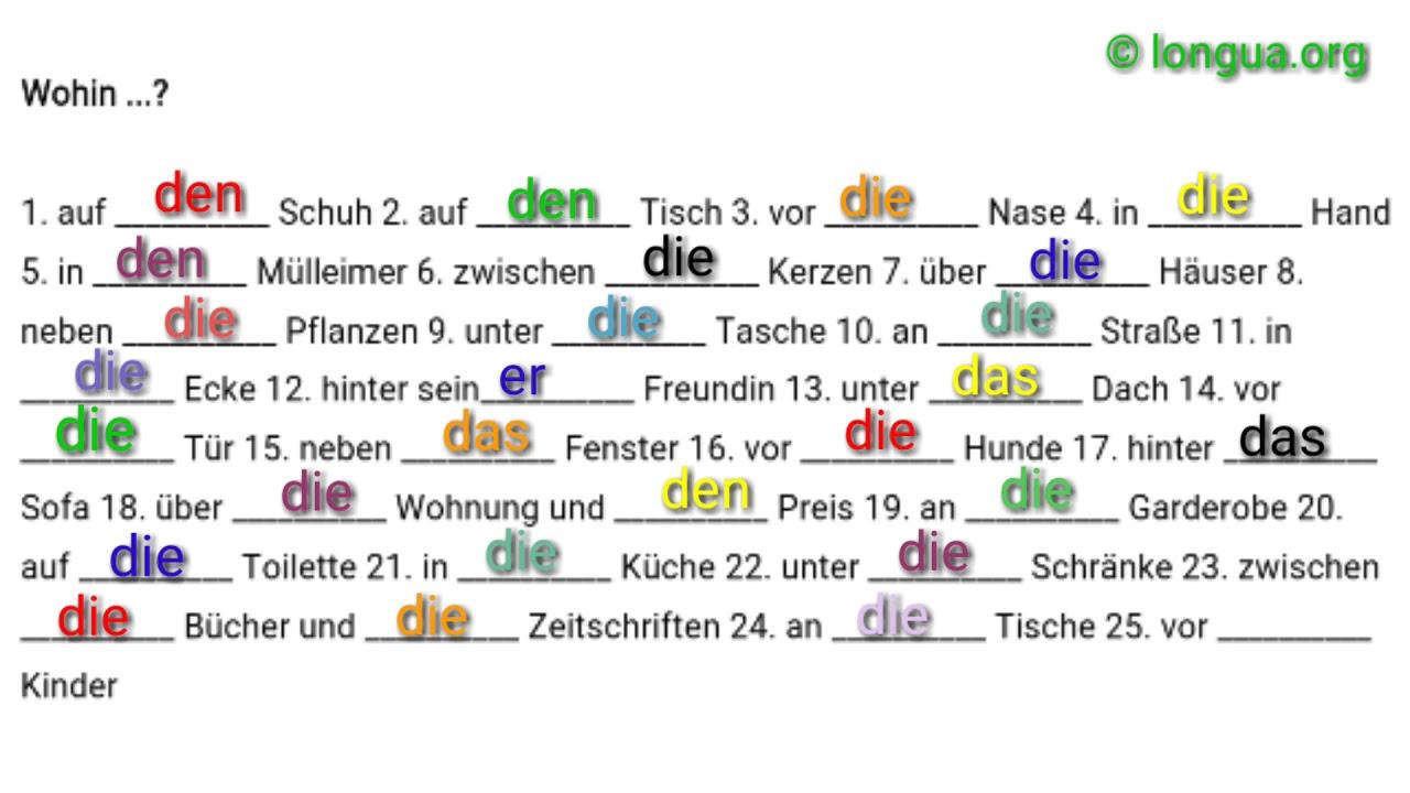 a1 a2 bungen deutsch lernen wohin wo akkusativ