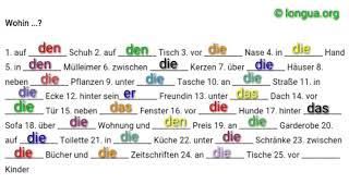 A1, A2 Übungen - Deutsch lernen - wohin? wo? Akkusativ oder Dativ - Exercises cases - Learn German