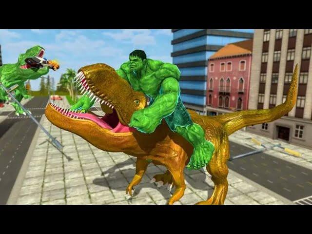 Monster Superhero vs Dinosaur Battle City Rescue - Green Hulk Vs Dinosaurs Hulk Vs Raptor 3D Fight