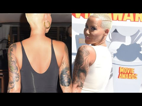 Amber Rose Replaces Tattoo of Ex Wiz Khalifa With Another Man's Face