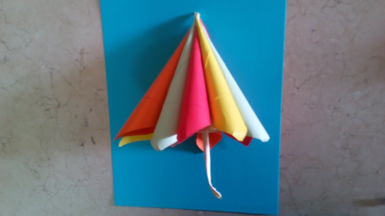 Diy Paper Crafts For Kids How To Make A Colored Umbrella Tutorial