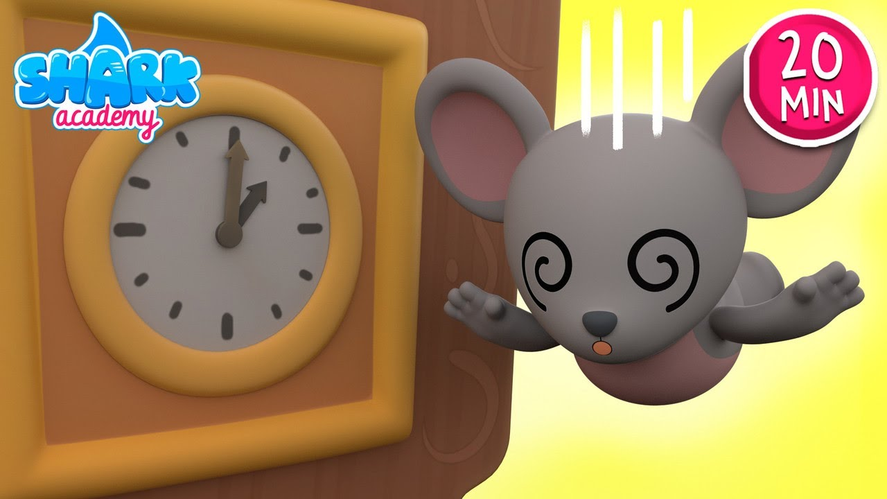 Hickory Dickory Dock | Baby Shark version - Kids Learn To Tell Time | Nursery Rhymes | Shark Academy