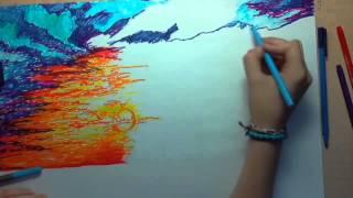 Speed Drawing/ La puesta de sol/  Primer encargo... :)