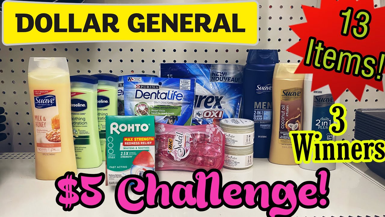 Dollar General $5 Challenge! I Get 13 Items for $0.44 each! 3 Winners Announced for the Giveaway.