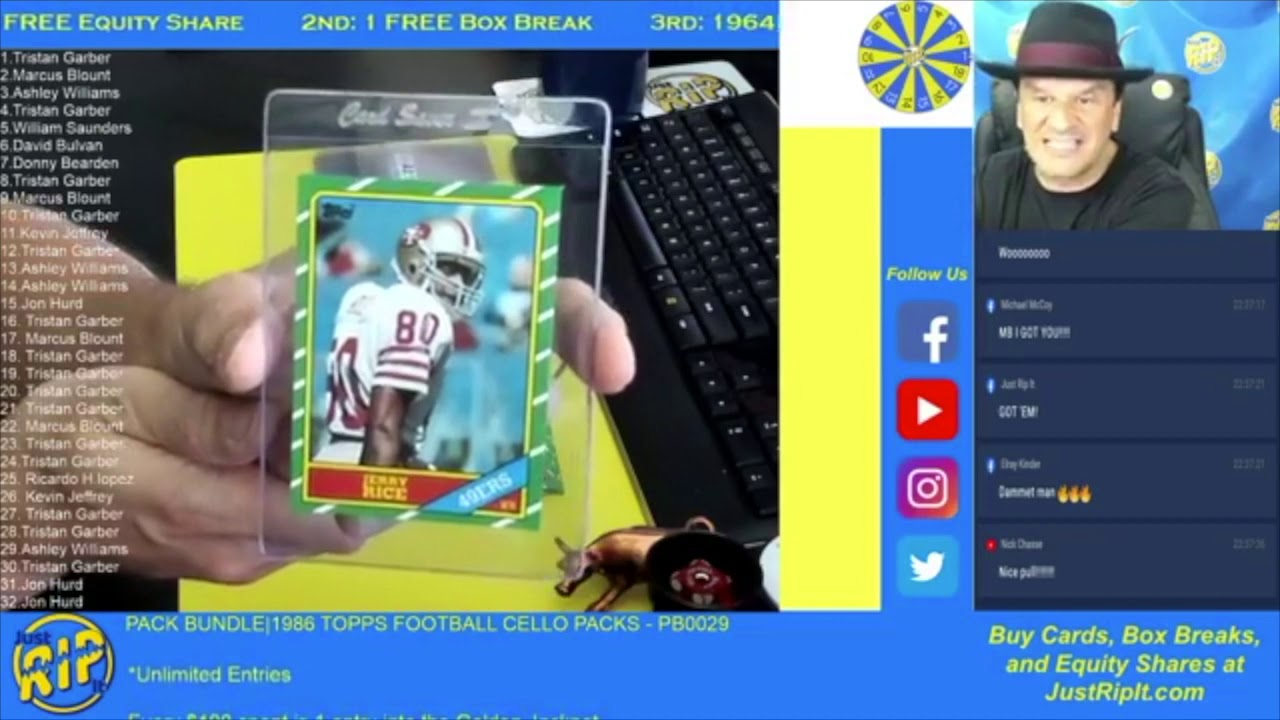 We pulled another 1986 Topps JERRY RICE Rookie Card!!