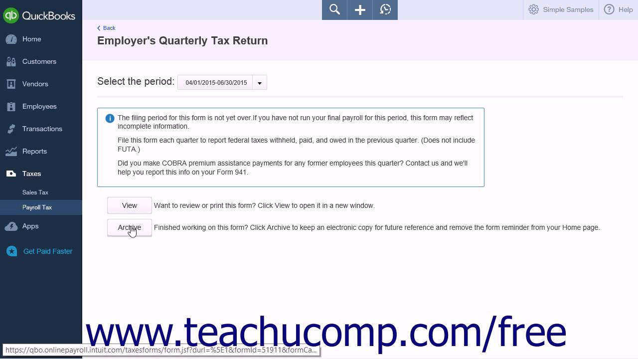 QuickBooks Online Plus 2015 Tutorial Process Payroll Forms Intuit ...