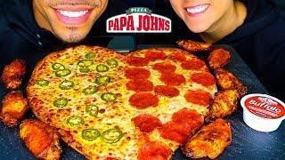 ASMR PAPA JOHN'S PIZZA & WINGS MUKBANG   HEART SHAPED PIZZA VALENTINES EATING CHALLENGE   NO TALKING