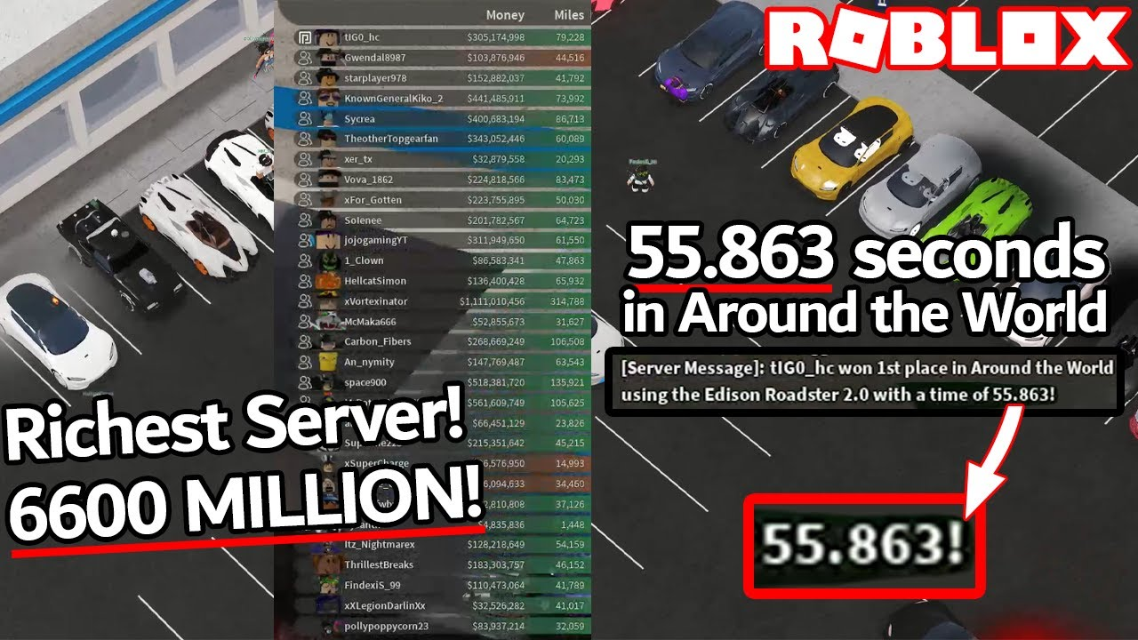 Carbon On Twitter Is Roblox Vehicle Simulator Still The 6600 Million Cash In One Single Server 55 863 Seconds In Atw Roblox Vehicle Simulator Youtube