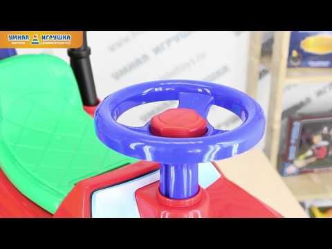 Машинка-каталка для детей «Джип» (с ручкой)