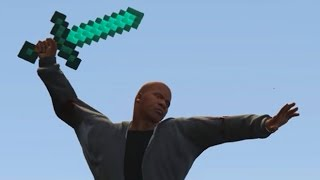 GTA 5 MODS MINECRAFT SWORD, RAY GUN & TF2 MINIGUN MODDED WEAPONS!