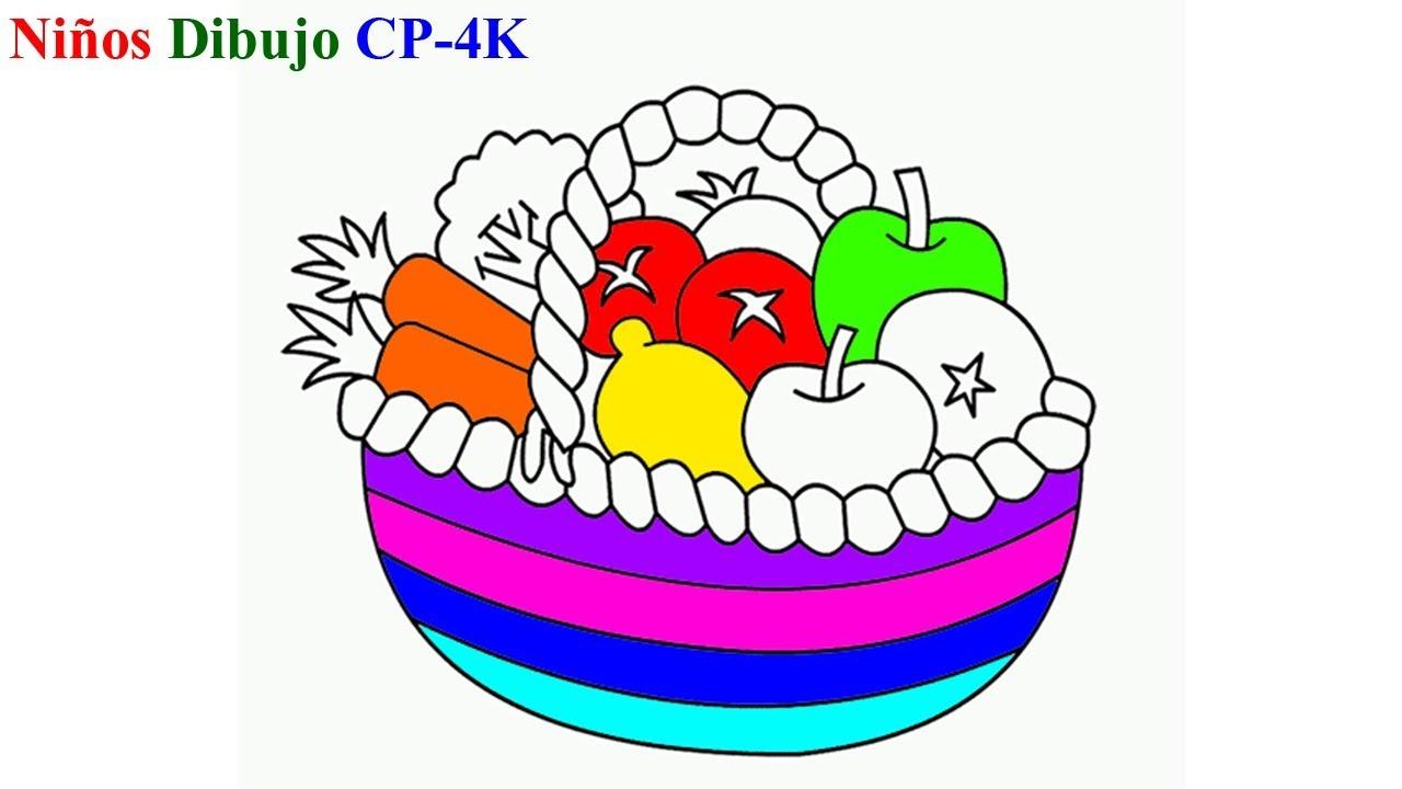 Aprender Colores Cesta De Frutas Y Verduras Como Dibujar Cesta