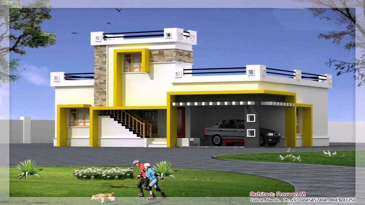 Home front elevation design simple design of india youtube for Simple home elevation design