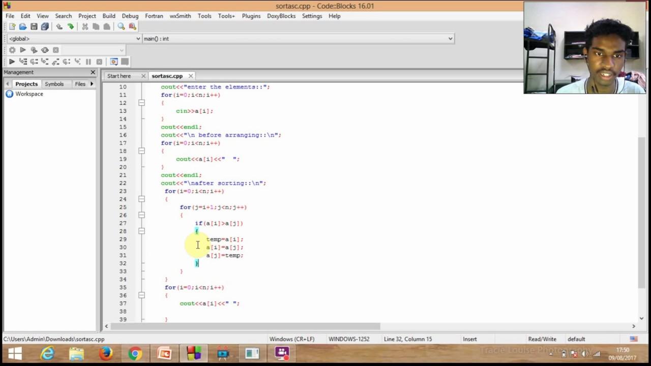 c++ program to sort an array in ascending order