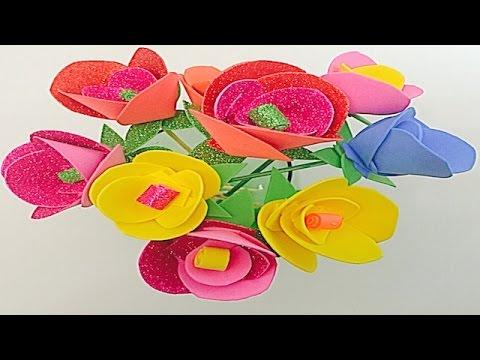 Flores de goma Eva o Foam, Espuma - YouTube