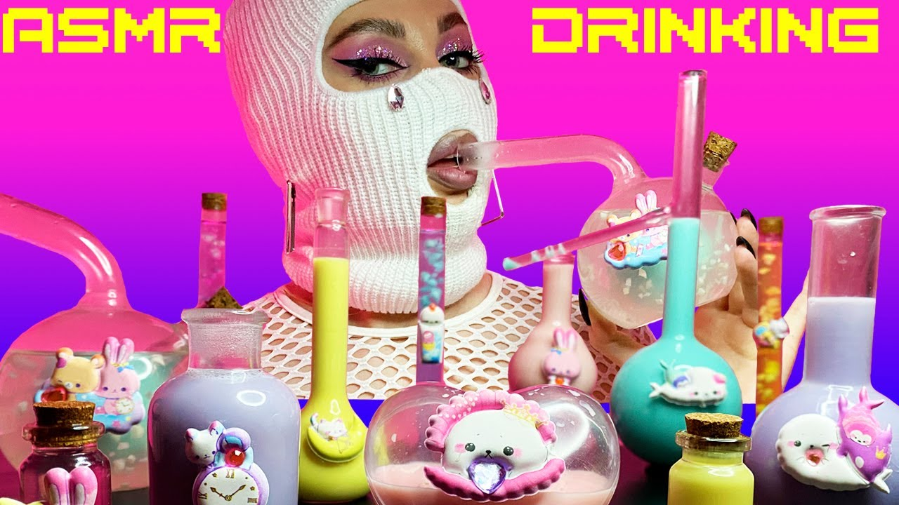 ASMR Kawaii Drinks & Coconut Water vs Coconut Milk | ASMR Drinking Sounds | Fru Fru ASMR