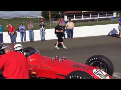 Starting a vintage Indy race car at Indianapolis 2015