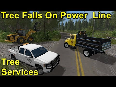 Farming Simulator 17 #16 Public Works Removing Fallen Tree From Power Line After A Nor'easter Storm