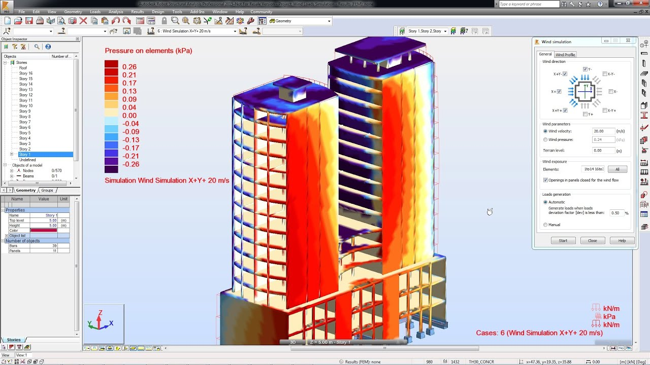 Wind Loads Simulation - Autodesk Robot Structural Analysis Professional 2015