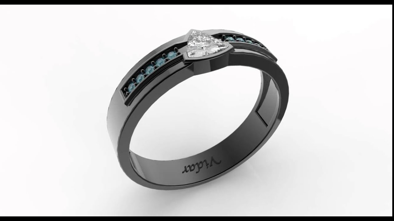 9cea7a69b5eaad Trillion Cut Diamond Wedding Band For A Men – Unique Black Gold Ring Design