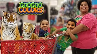 WE PRETEND PLAY SHOPPING IN TARGET STORE! Kid Learns Animal Names & Sounds