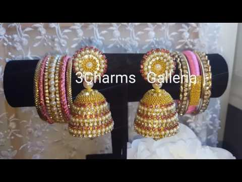New 2016 color of jhumkas with silk tread bangles.
